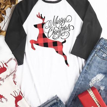 White Patchwork Elk Monogram Print Long Sleeve Round Neck Casual Christmas T-Shirt