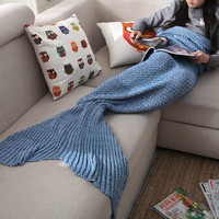Red Knitted Mermaid Sofa Blanket Autumn&Winter Gift