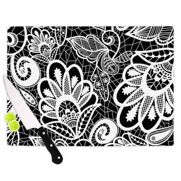"""Petit Griffin """"Floral Lace BW"""" Abstract Modern Cutting Board"""