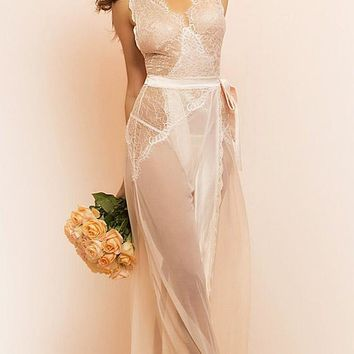 "Nightgown - ""Nicolette"" Bridal Tie-Front w/Eyelash Lace (Small-4X)"