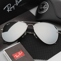 Ray Ban Aviator Sunglasses Gray Flash/Silver Frame RB3025 112/68F 58mm