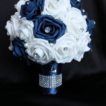 Navy and white Rose Wedding Bouquet Collection
