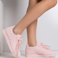 adidas Women's Samoa Leather Sneaker in Pink Pink White