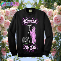 KAWAII or DIE Grim Reaper Sweatshirt // Pastel Goth // Pastel Grunge // Tumblr Girl // fASHLIN