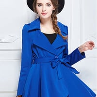 Blue Lapel Trench Coat