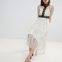 Lace & Beads Polka Dot Midi Dress With Lace Inserts at asos.com