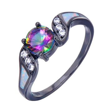 Elegant Colorful Zircon Ring White Opal
