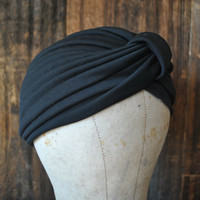 Black Turban Hat / ethnic boho festival