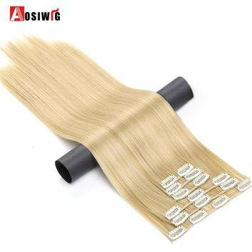 "AOSIWIG Blond Synthetic Clips in Hair Extension Long Straight 24"" 16 Clips False Hair pieces Brow Black White Color"
