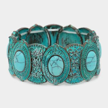 "patina turquoise metal stretch boho bracelet 1.20"" wide"