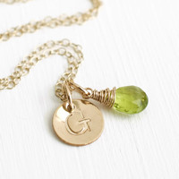 Personalized Gold Initial Necklace with Birthstone for August