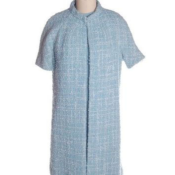 Vintage Blue Wool Tweed Dress & Coat Set 1960s B.H. Wragge Small
