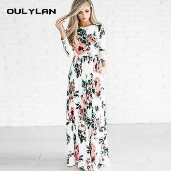Dress Winter Long Dress Floral Print Boho Beach Dress Tunic Maxi Women Evening Party Dress Sundress Retro Hippie Vestidos