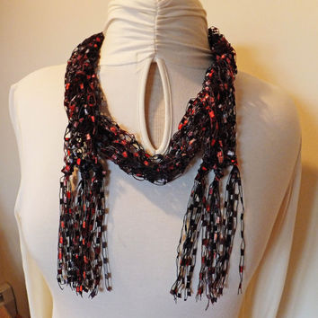 Red Black Trellis Ribbon Ladder Yarn Scarf Necklace