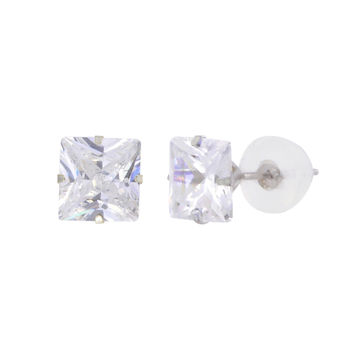 14k White Gold Square CZ Stud Earrings Prong Set Clear Cubic Zirconia Silicone Backs