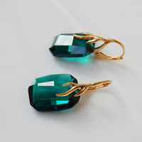 Gold plated sterling silver Swarovski crystal graphic pendant emerald dark green colour faceted crystal dangle leverback earrings