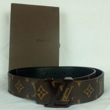 "100% Authentic LOUIS VUITTON Monogram 38MM Initiales Belt 105/42 32.5-36.5"" MINT"
