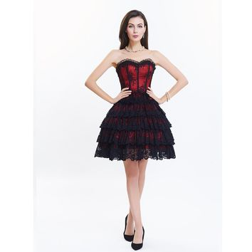 Women's Victorian Gothic Overbust Corset Dress With Zipper Lace Up Retro Steampunk Dress Women Casual Dress Gothic Corset Dress
