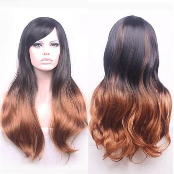 CREYHY3 68cm Fashion Sexy Long Curly Wavy Cosplay Tilted Frisette Women Wigs Hair Wig Girl Gift Black Brown Ombre