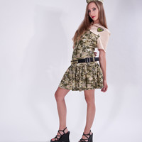 Zombie Hunter Camo Camouflage Skulls Military Mini Dress Ammo Belt Garraison Cap Cute Sexy Halloween Costume Womens Small Medium - Dresses | RebelsMarket