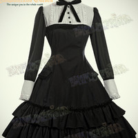 Classical Gothic Lolita Scholar Long Sleeves Dress