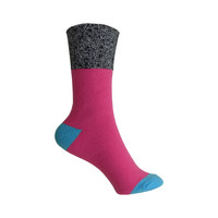 Color Block Marl Cuff Boot Crew Socks in Bright Pink