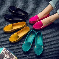 Women Simple Casual Loafer Flats Shoes Shallow Mouth Single Shoes