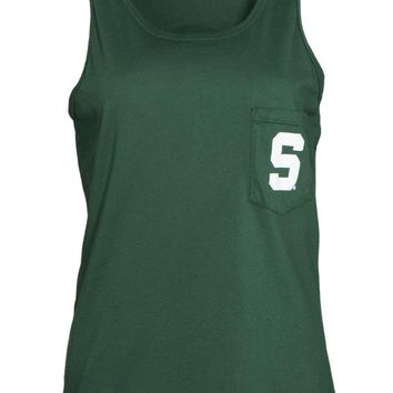 Official NCAA Michigan State University Spartans MSU Sparty Women's Tonal Pocket Boyfriend Tank Top.