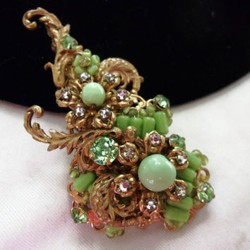 ON SALE MIRIAM Haskell Pin Brooch Vintage 50s Flower Green Glass Bead Diamante Rhinestone Cocktail Fashion