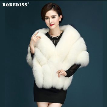 ROKEDISS Brand 2017 Women Faux Fur Vest Short Faux Fur Jackets Women's Winter Fox Fur Vest Furry Shaggy Coats X254