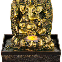 Gold Ganesh with Light - Fountain