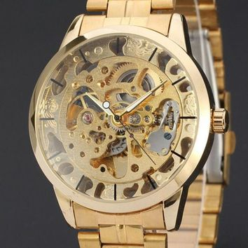 CREYUG3 2015 New Brand Stainless Steel Band Automatic Mechanical Self Wind Watch Men Gold Skeleton Dress Watch Full Steel Watch ( Gold , Siliver )
