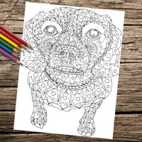 Printable coloring page, Adult Coloring Page, Instant download coloring, Beagle Dog coloring page, adult coloring, coloring page, abstract