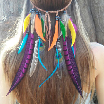 Bird of Paradise, Feather headband, native, american, style, indian, neon, hippie , bohemian headband, wedding, feather veil, rainbow