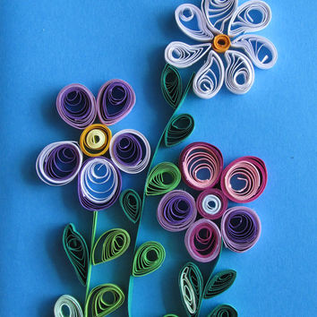 Forget-me-not Quilling Card With Quilled Flowers, Flowers Handmade Quilled Paper Card