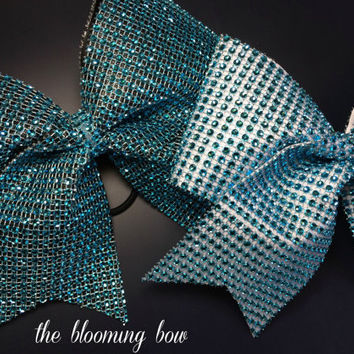 Cheer Bow Turquoise Bling - Choose your base color