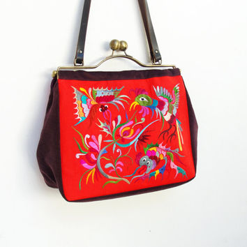 Vintage Silk Embroidery Bag -  Kiss-lock, Leather, Velvet - Garden of Eden