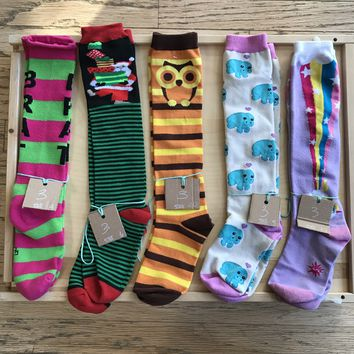 Over the Calf Multicolor Pattern Socks