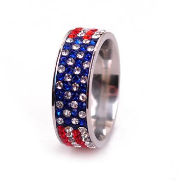 Full Rhinestone Iced Out Flag MENS Rings American USA Flag Hip Hop Jewelry