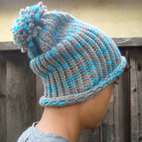 Gray and Blue Winter and Fall Knit Pom Pom Hat, Knitted Blue and Gray Beanie, Gift Ideas