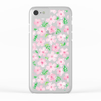Happy Cherry Blossoms Clear iPhone Case by Noonday Design
