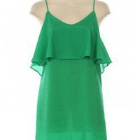 GREEN LOW BACK RUFFLE CAMI DRESS @ KiwiLook fashion