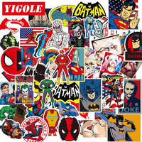 60pcs/lot Super Heroes Batman Harley Quinn Joker Iron Man Sticker Laptop Skateboard Suitcase Waterproof Stickers