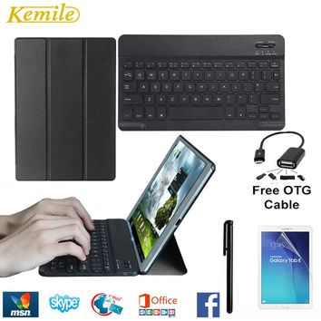 Ultra Thin Smart Folio Leather Case Cover Stand For Samsung Galaxy Tab S2 9.7 T810 T815 Tablet +Wireless Bluetooth Keyboard