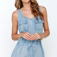 Good Times Roll Light Wash Chambray Romper