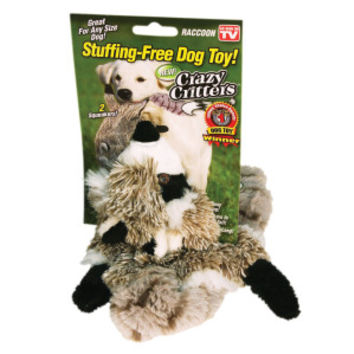 As Seen On TV Crazy Critters Stuffing-Free Raccoon Squeaker Dog Toy | Toys | PetSmart