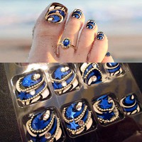 Fashion 24 pcs/set 3D Silver chain Five-pointed star summer toes finished fake nails,full Nail tips,girl toe art tool bride