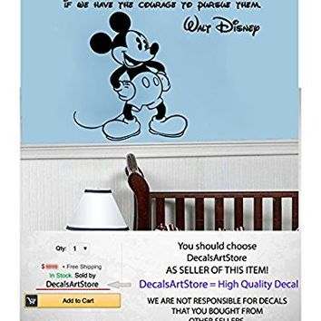 "Mickey Mouse Quote All Our Dreams Come True Wall Decals Vinyl Sticker Kids Room Bedroom Nursery Playroom Home Decor SM87 (22"" x 26"")"