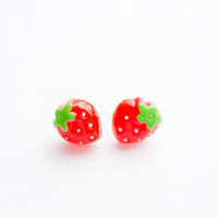 Very Very Strawberry fresh juicy red yummy Retro Stud Post earring :) So Cute Lolita Kawaii Kitsch Bow Love Factory NYC