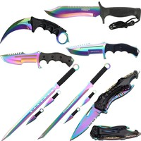 11 Pc Pack Tectical Folding & Throwing Knives & Swords Stainless Steel W /Sheath